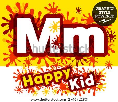 Vector set of funny children splash alphabet. Letter M - stock vector
