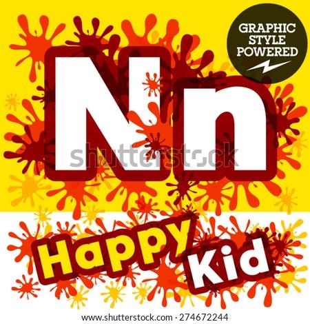 Vector set of funny children splash alphabet. Letter N - stock vector