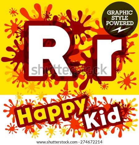 Vector set of funny children splash alphabet. Letter R - stock vector