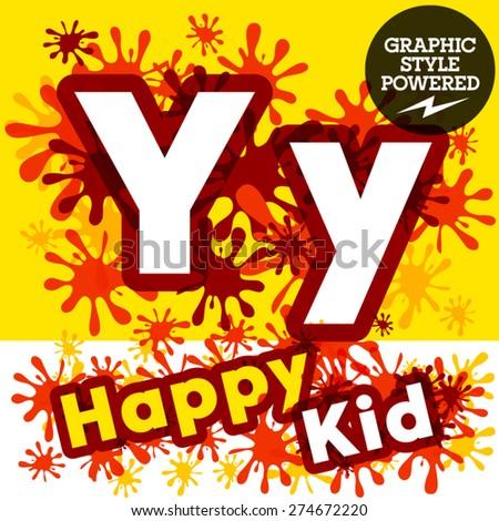 Vector set of funny children splash alphabet. Letter Y - stock vector