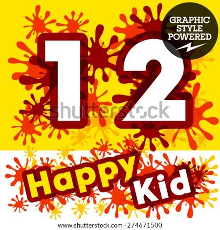 Vector set of funny children splash alphabet. Numbers 1 2 - stock vector