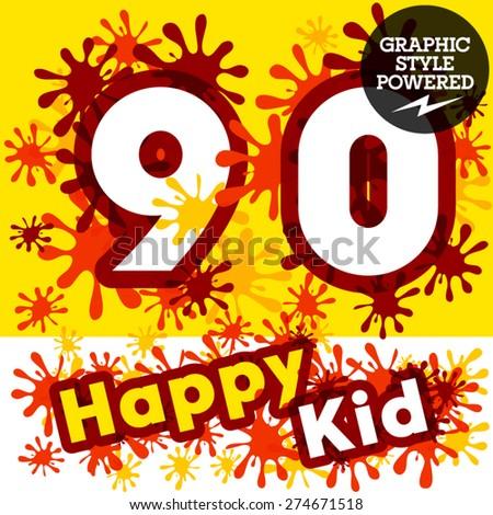 Vector set of funny children splash alphabet. Numbers 9 0 - stock vector