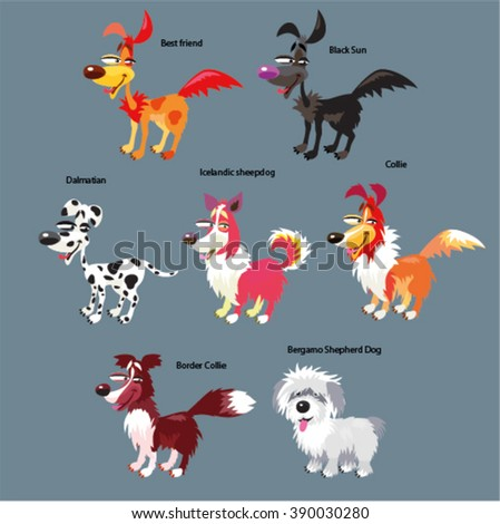 Vector set of funny, cute, cartoon dogs. Different breeds.  - stock vector