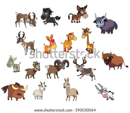 Vector set of funny cute cartoon ungulates. The first part of a series of animals in the zoo - stock vector