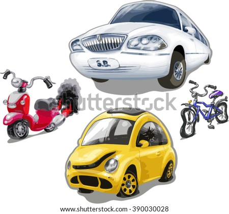 Vector set of funny cute old broken vehicles. Limousine, moped, bicycle, car bug - stock vector