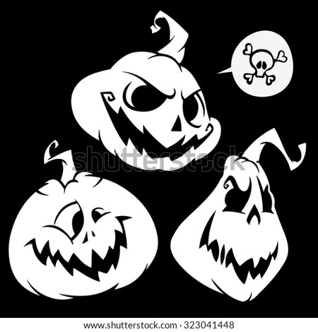 Vector set of funny Halloween pumpkins head. White outline on black isolated background - stock vector