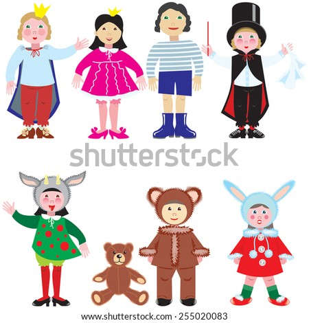 Vector set of funny little men. Young children in colorful clothes.