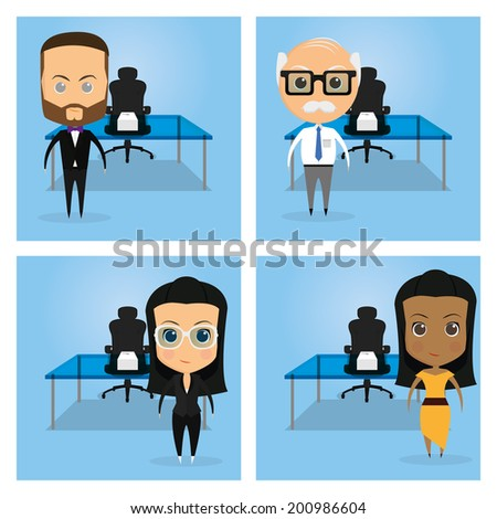 Vector Set Of Funny Office Characters Isolated On Background - stock vector