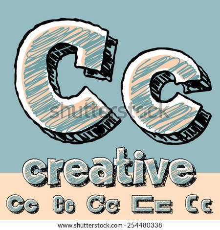 Vector set of funny sketch alphabet. Vector illustration of hand drawing font. Letter C - stock vector