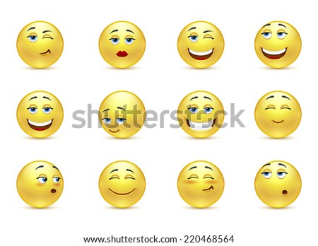 Vector set of funny smiles - stock vector