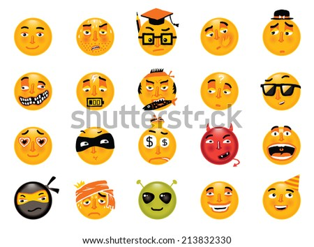 Vector set of funny smileys. Collection of isolated cartoon vector emoticons. - stock vector