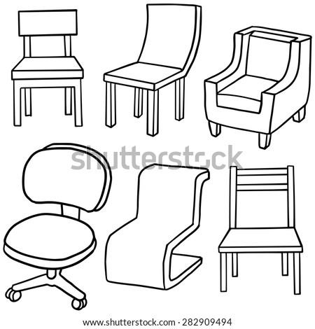 vector set of furniture - stock vector