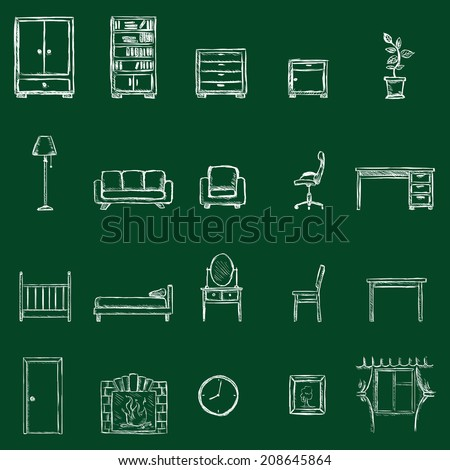 Vector Set of Furniture Icons. Chalk on a Blackboard. - stock vector