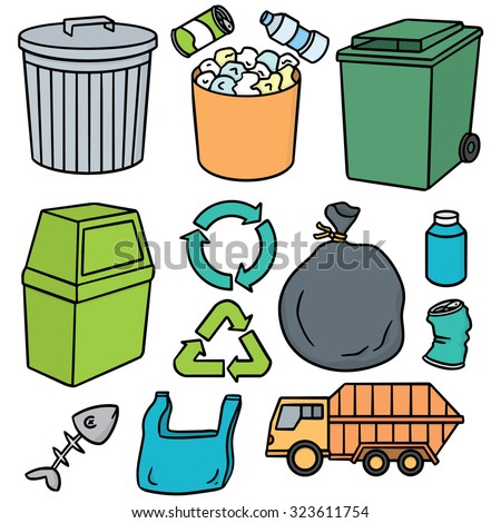 vector set of garbage and recycle icon - stock vector
