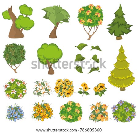 Vector Set Of Garden Plants With Flowers For You Design And Computer Game
