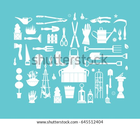 Vector Set Gardening Tools Agriculture Equipment Stock Vector