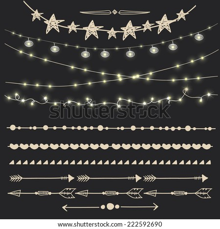 Vector set of garlands - eps 10 - stock vector