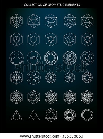 Vector Set Geometric Elements Symbols Religion Stock Vector Royalty
