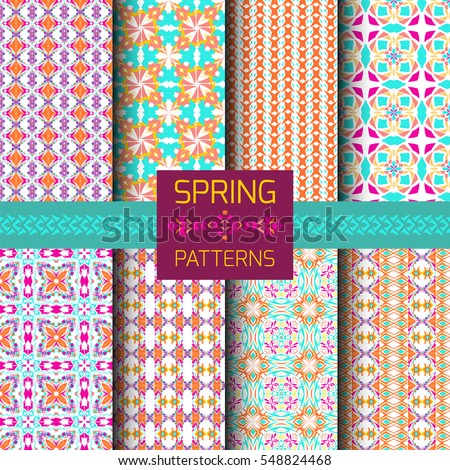 Vector set of geometric ornamental patterns with bright spring colors. Seamless texture collection. Ethnic ornament. Floral oriental motif