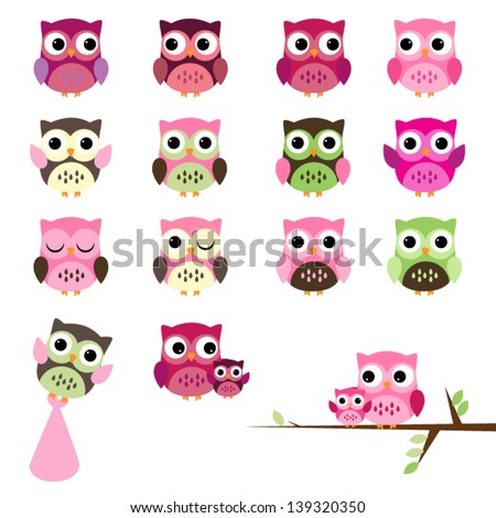Vector Set of Girl Baby Shower Owls - stock vector