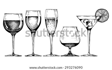 Vector set of glasses goblets in ink hand drawn style. isolated on white. - stock vector