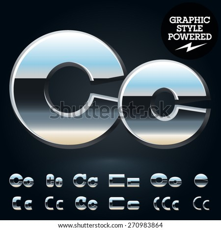 Vector set of glossy and shiny metal steel font. Letter C - stock vector