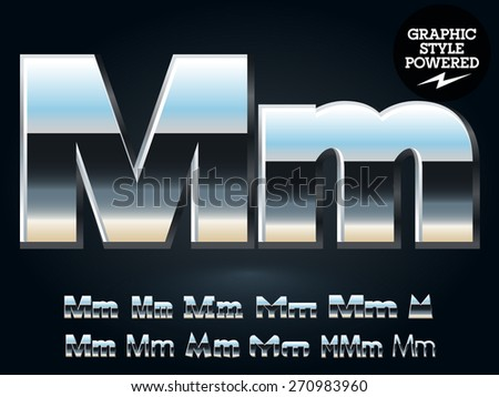 Vector set of glossy and shiny metal steel font. Letter M - stock vector