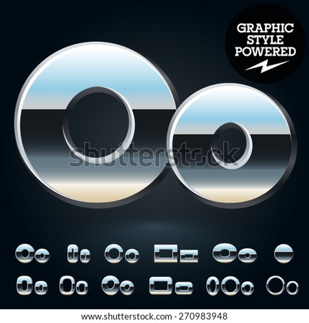 Vector set of glossy and shiny metal steel font. Letter O - stock vector