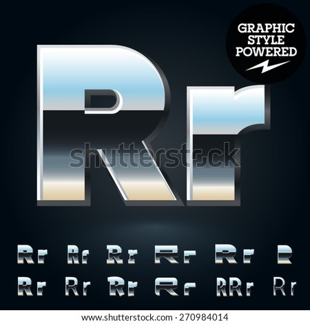 Vector set of glossy and shiny metal steel font. Letter R - stock vector