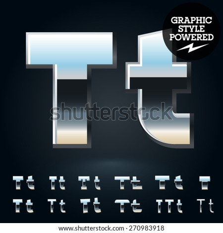 Vector set of glossy and shiny metal steel font. Letter T - stock vector