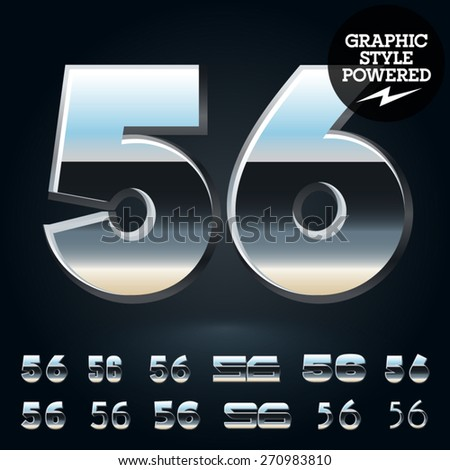 Vector set of glossy and shiny metal steel font. Numbers 5 6 - stock vector