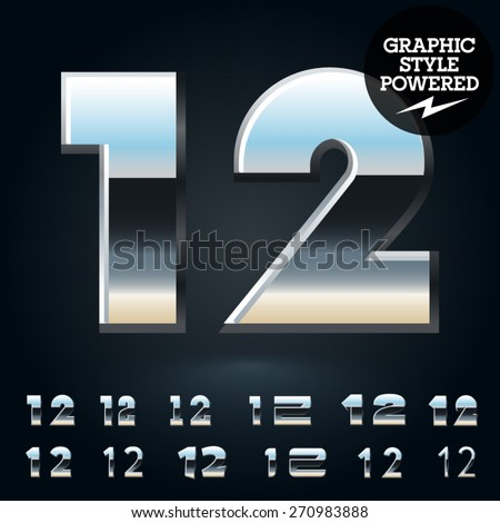 Vector set of glossy and shiny metal steel font. Numbers 1 2 - stock vector