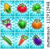 Vector set of glossy colorful vegetable icons on blue burst background. - stock vector