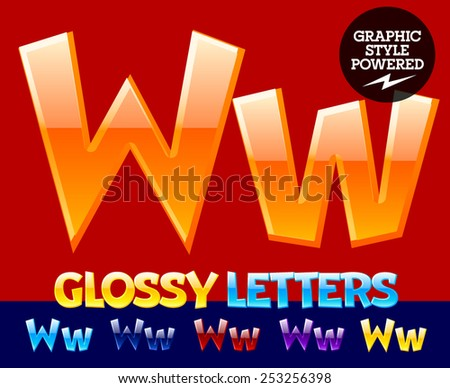 Vector set of glossy modern alphabet in different colors. Letter W. Also includes graphic styles - stock vector