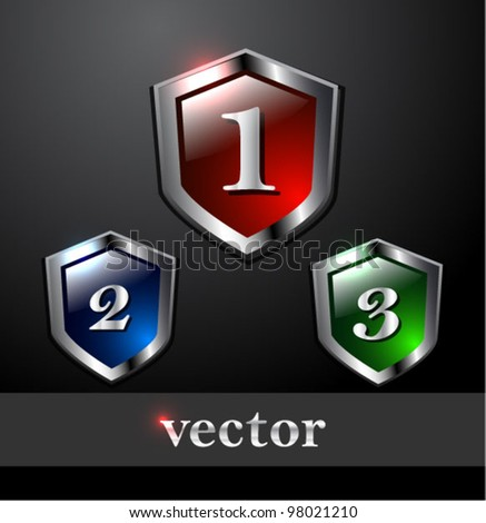 Vector set of glossy shields with numbers: q, 2, 3 to indicate prize - stock vector
