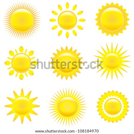 Vector set of glossy sun images isolated on white background - stock vector