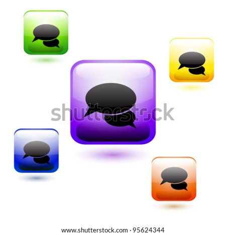Vector set of glossy web chat buttons - stock vector