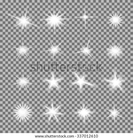 Vector set of glowing light bursts with sparkles on transparent background. Transparent gradient stars, lightning flare. Magic, bright, natural effects. Abstract texture for your design and business. - stock vector