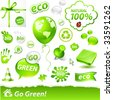 "vector set of ""go green"" labels - stock photo"