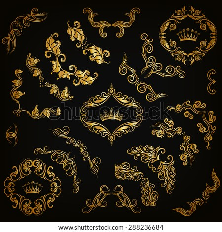Vector set of gold decorative hand-drawn floral elements, filigree corners, borders, frame, crown, monograms on black background. Page, web site decoration in vintage style. Vector illustration EPS 10 - stock vector