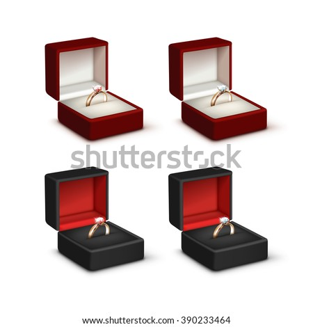 Vector Set of Gold Engagement Rings with Pink and White Shiny Clear Diamonds in Red and Black Jewelry boxes Close up Isolated on White Background