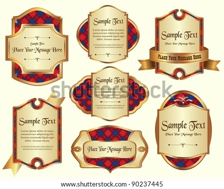 Vector set of gold framed labels - stock vector
