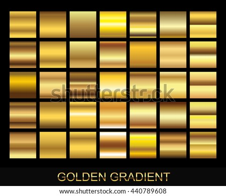Vector set of gold gradients.Golden squares collection. - stock vector