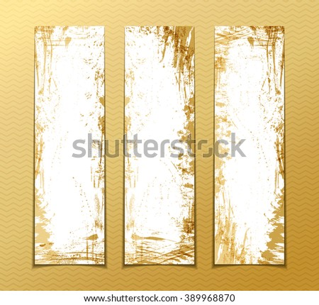 Vector set of gold grunge vertical banners. Hand-drawn gold paint stains, flourishes and blots. There is place for your text on white area. - stock vector
