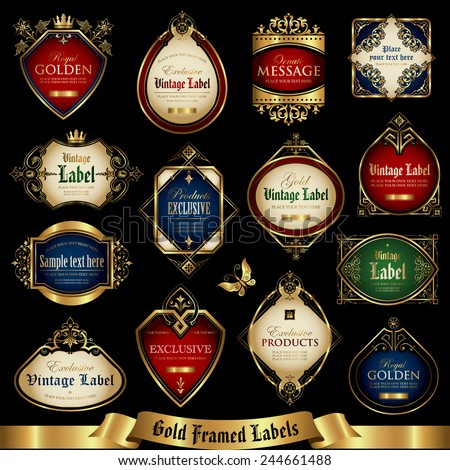 Vector set of golden-framed labels - stock vector