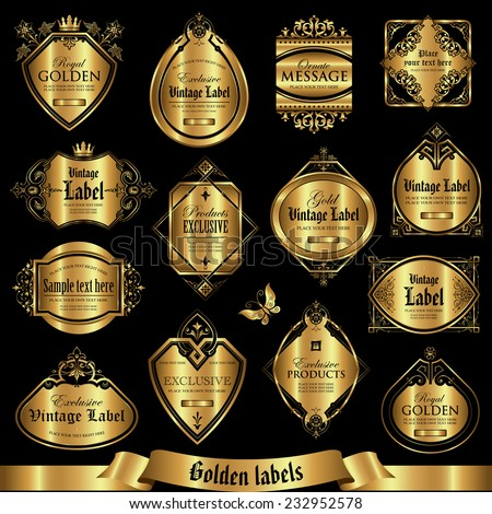 Vector set of golden labels - stock vector