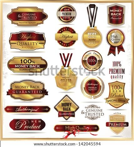 Vector set of golden luxury ornate frames - stock vector