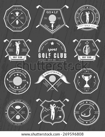 Vector set of golf club logos, labels and emblems. Golfer playing vector logo design template. Concept icons organization tournaments golf clubs. - stock vector