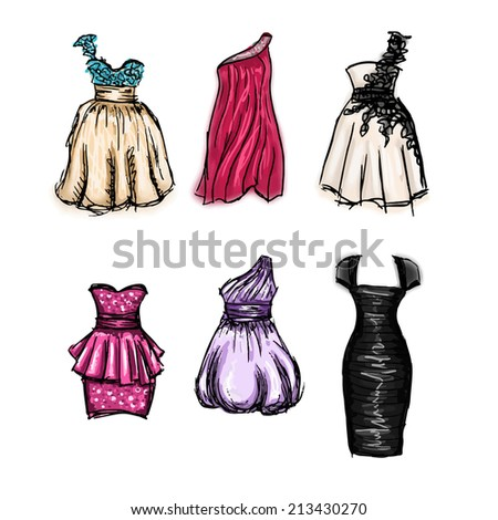 Vector set of gorgeous hand drawn evening and prom dresses - stock vector