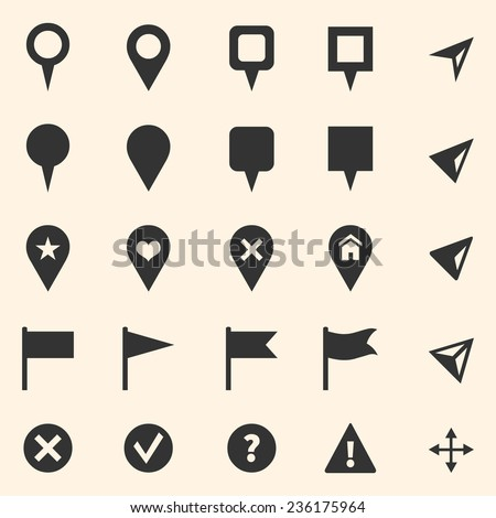 Vector Set of GPS Icons. Map Markers and Pointers. - stock vector